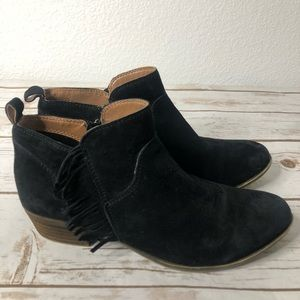 Lucky Brand Black Suede Fringe Leather Boots